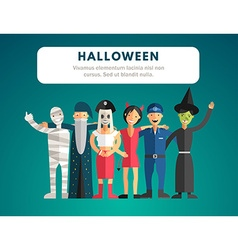 Flat design of halloween monster costumes vector