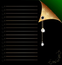 Black-green paper with gold corner and crystal vector