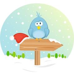 blue bird on the waymark vector image