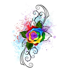 Patterned rainbow rose vector