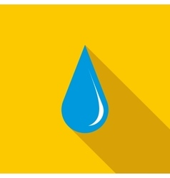 Blue shiny water drop icon flat style vector