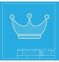 King crown sign white section of icon on vector