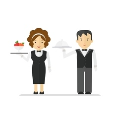 Waitress and waiter in black suit vector