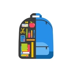 Back to school infographics with student backpack vector
