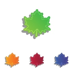 Maple leaf sign colorfull applique icons set vector