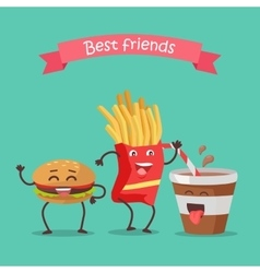 Best Friends Haburger Fries and Soda Dancing vector image vector image