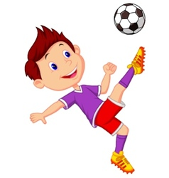 Boy cartoon playing football vector image
