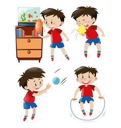Boy in red shirt doing different activities vector