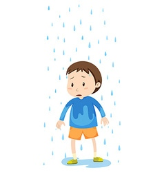 Boy standing in the rain vector
