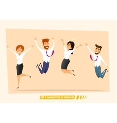 Business people jumping and celebrating victory vector