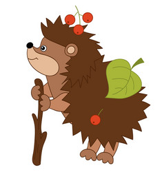 cartoon hedgehog with leaves and berries vector image vector image