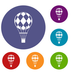 Checkered air balloon icons set vector