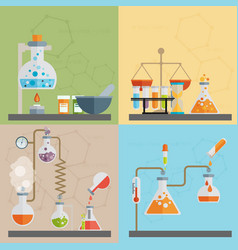 chemistry decorative flat icons set with lab test vector image
