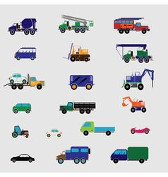 color set with transportation icon vector image vector image