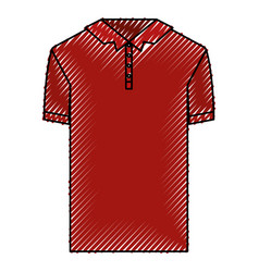colored crayon silhouette of polo shirt short vector image vector image
