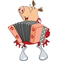 Cute pig musician cartoon vector