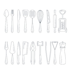 Cutlery Icons in Handdrawn Style vector image