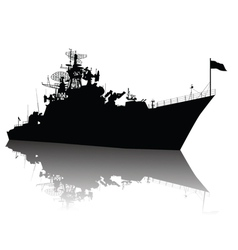 Detailed ship silhouette vector