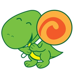 Dinosaur and candy vector