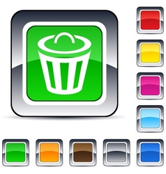 dustbin square button vector image vector image