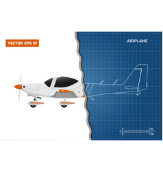 engineering blueprint of plane side view airplane vector image vector image