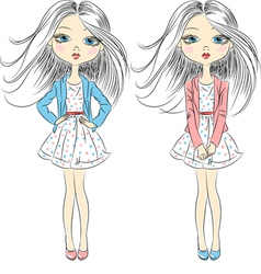 fashion girls in summer dress vector image