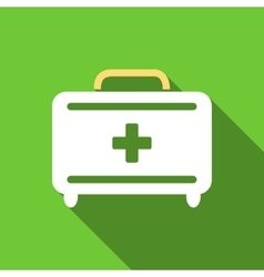 First aid toolkit flat long shadow square icon vector