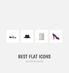 Flat icon dress set of singlet panama heeled vector