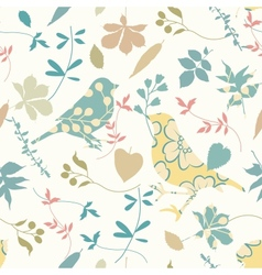 Floral seamless with birds vector