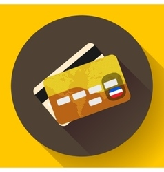 Golden vip credit card icon with long shadow flat vector