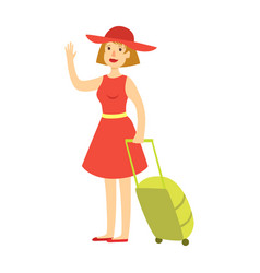 Happy tourist woman in red dress and hat with a vector