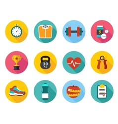 icons in flat style healthy sport and vector image vector image