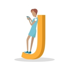 J letter and girl standing and playing on tablet vector