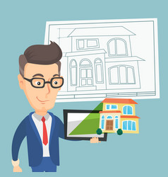 Man showing a house photo on a tablet computer vector