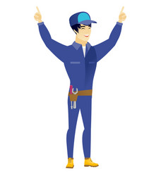 mechanic standing with raised arms up vector image vector image