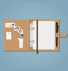 notebook with snap and pen vector image vector image