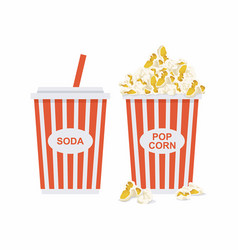 popcorn and soda vector image vector image