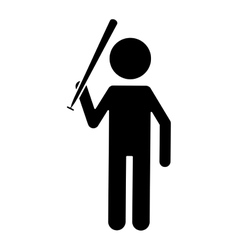 silhouette character player baseball with bat vector image
