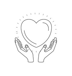 Silhouette hands with floating heart charity vector
