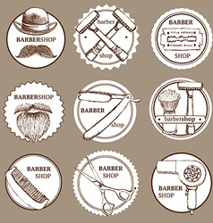 Sketch set of barbershop logotypes vector image