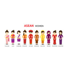 southeast asia women in traditional clothing vector image