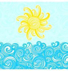 Summer background sea sun waves vector