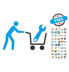Tools shopping icon with 2017 year bonus symbols vector