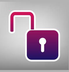 Unlock sign purple gradient vector