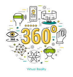 virtual reality 360 - line art concept vector image vector image