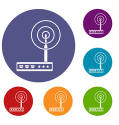 Wifi router icons set vector