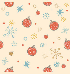 Winter seamless pattern with festive red vector
