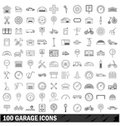 100 garage icons set outline style vector image