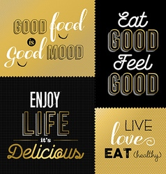 Retro style food quotes set in gold color vector