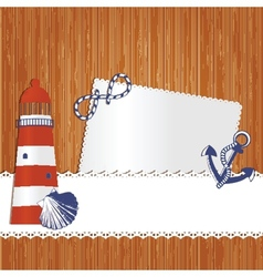 Marine background with lighthouse anchor shell and vector image
